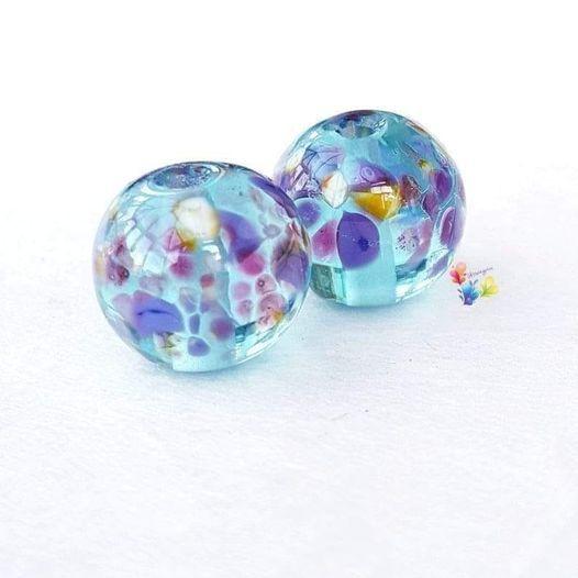 Tropical Aqua Glass Lampwork Beads