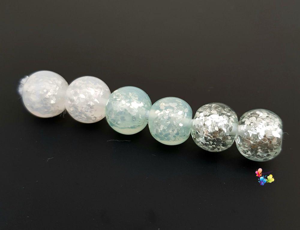 Juniper Ice Sparkle Glitter Trio Lampwork Beads