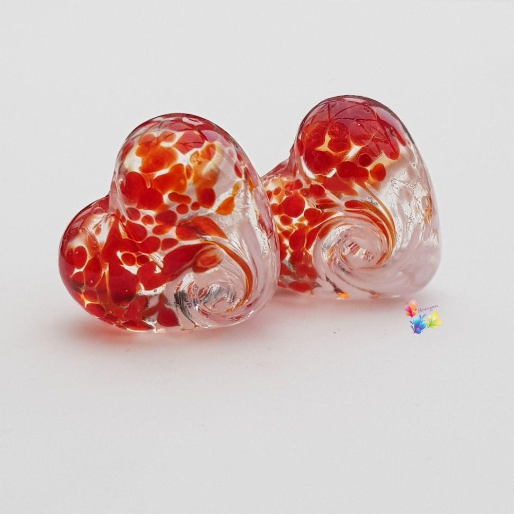 Red & White Twist Heart Lampwork Bead Pair