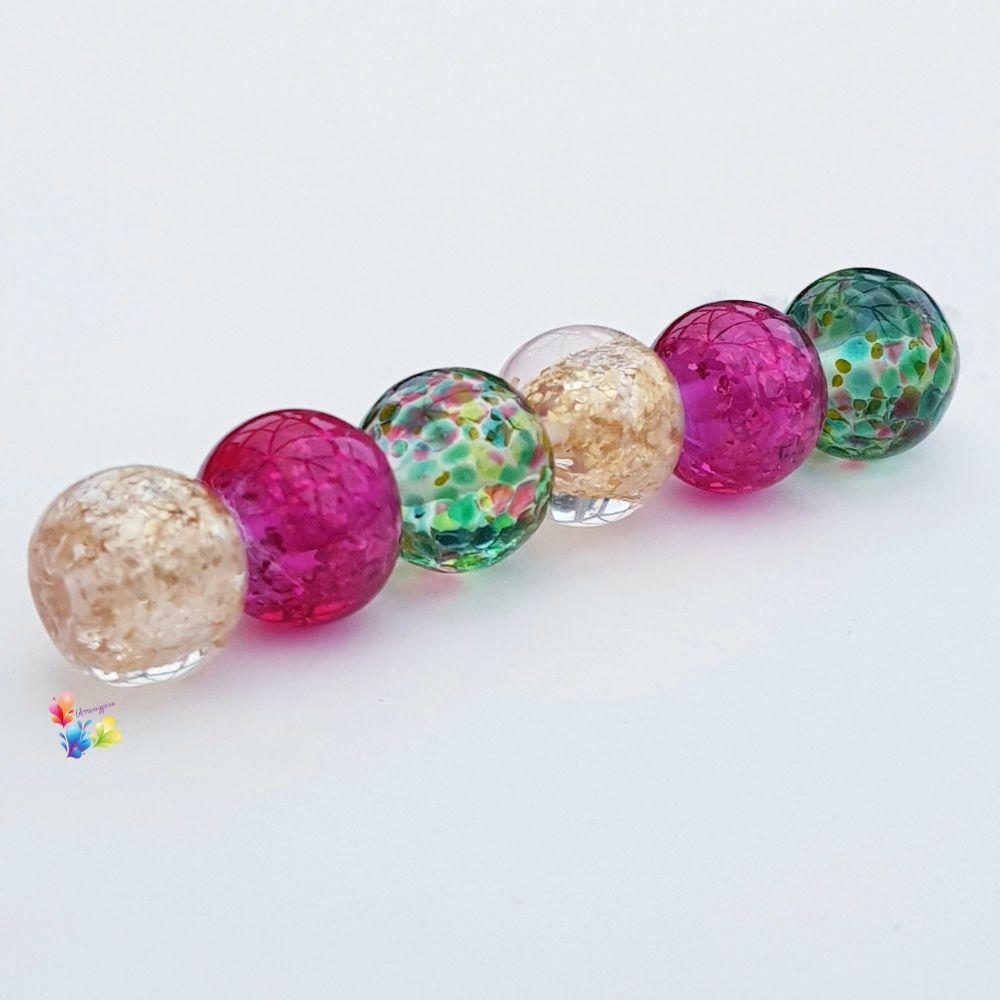 Ruby Fields Glitter Trio Lampwork Beads