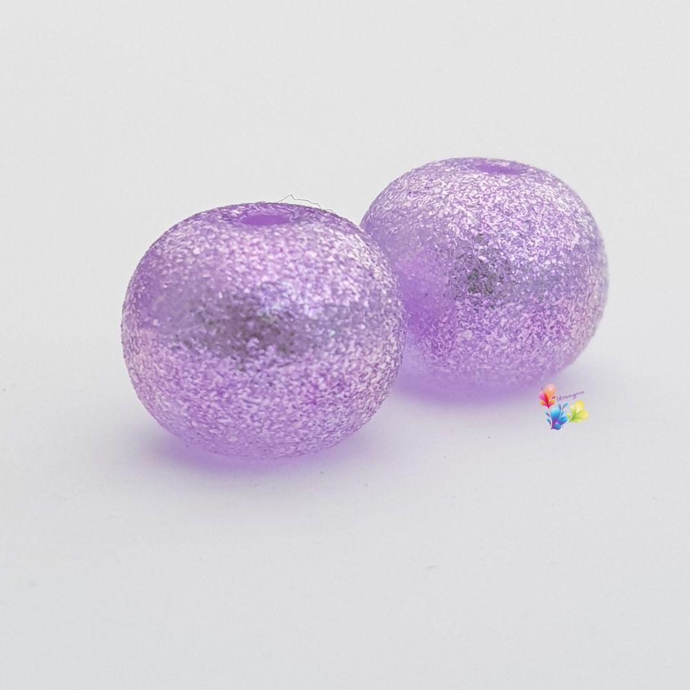 Lavender Bobby Dazzler Glitter Round Lampwork Bead Pair