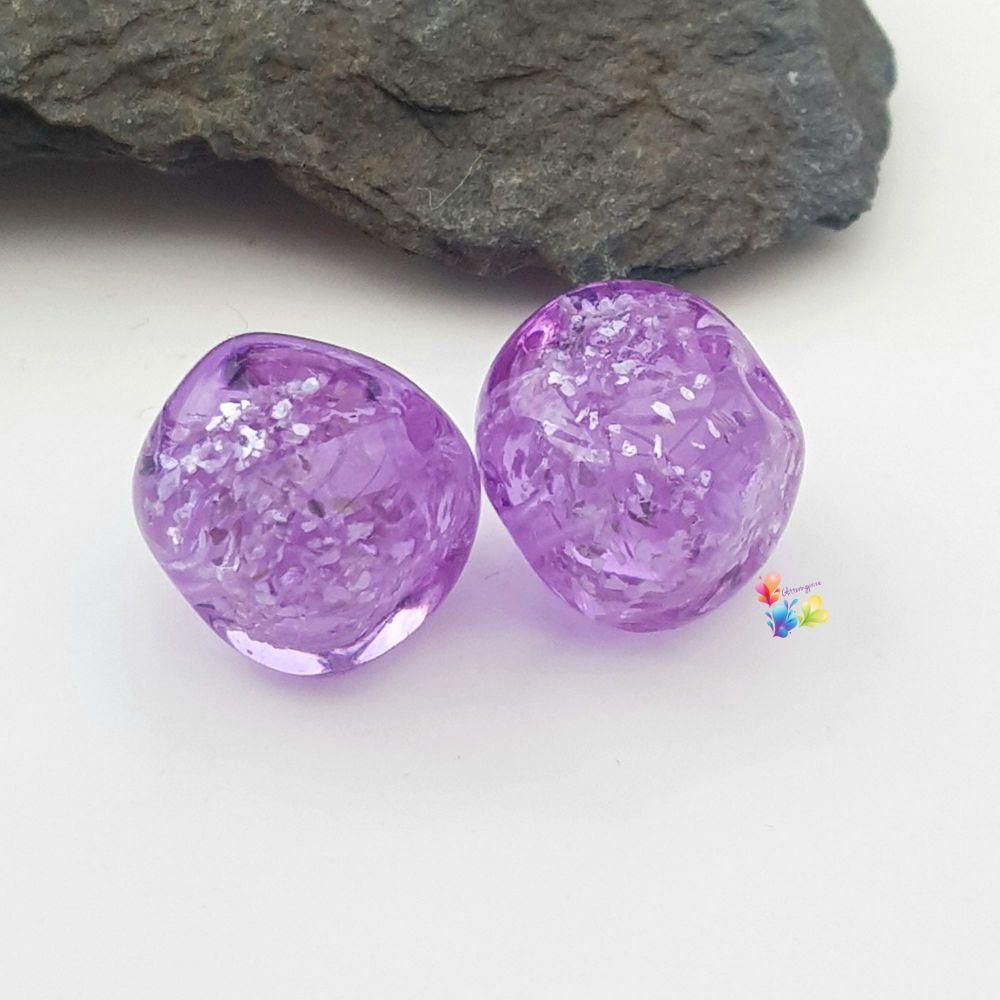Lavender Glitter Nugget Lampwork Bead Pair