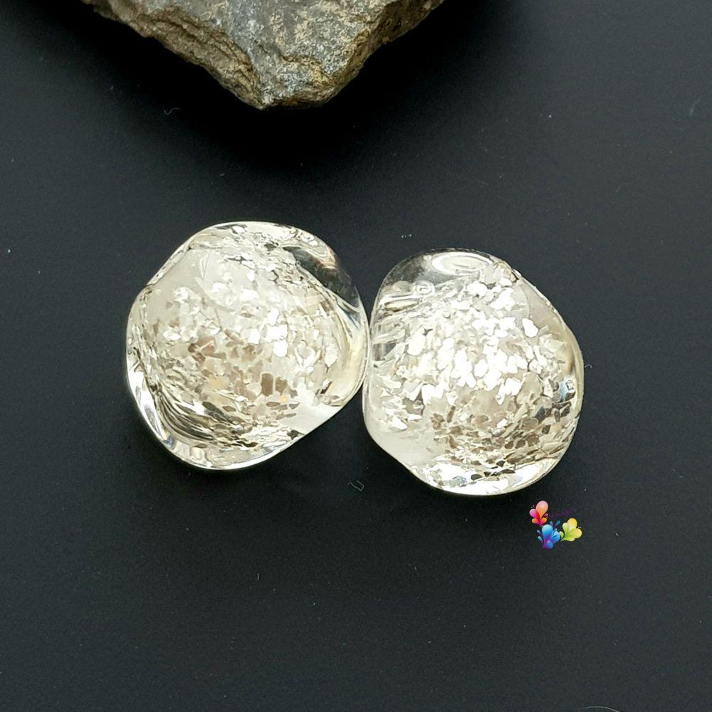 Silver Glitter Nugget Lampwork Bead Pair
