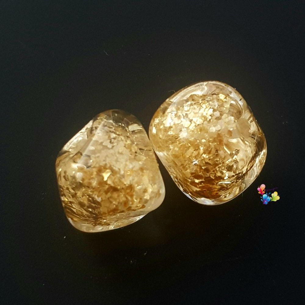 Gold Glitter Nugget Lampwork Bead Pair