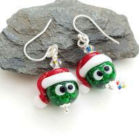 Sparkling Stanley Sprout Christmas Earrings Sterling Silver