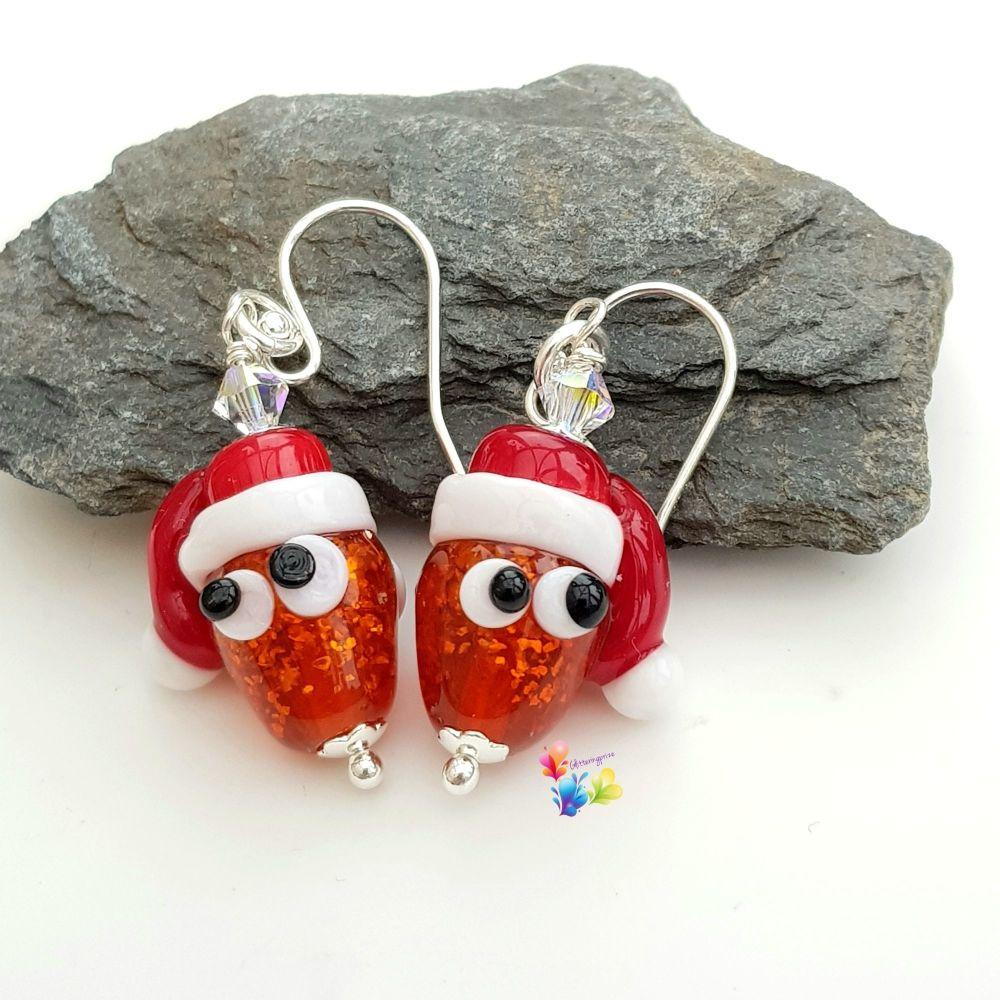 Sparkling Cedric Carrot Christmas Earrings Sterling Silver