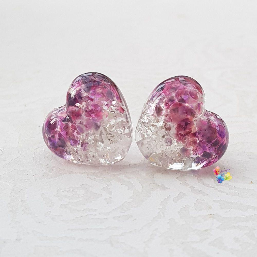 Summer Berry Glitter Heart Lampwork Bead Pair