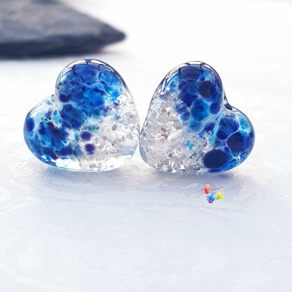 Sing Blue Silver  Glitter Heart Lampwork Bead Pair