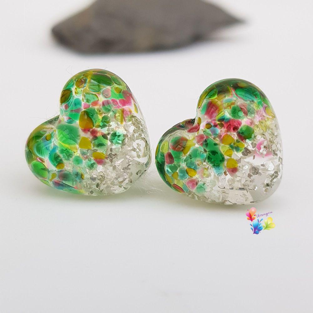 Ruby Fields Glitter Heart Lampwork Bead Pair