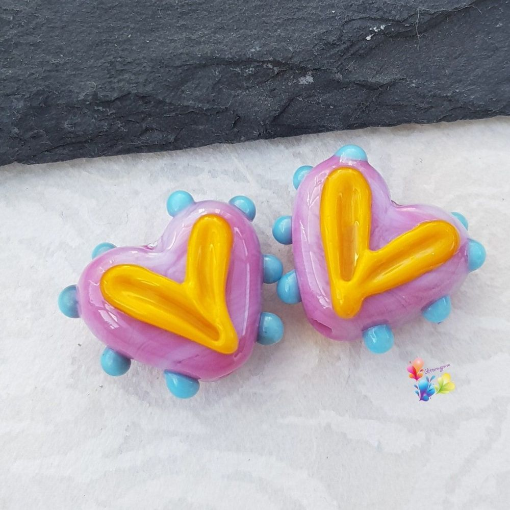Hippy Happy Funky Hot Pink  Heart Glass Lampwork Beads
