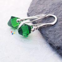 Fern Green Faceted Earrings Sterling Silver