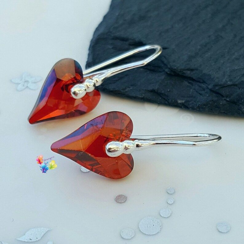 Red Magma Premium Crystal Wild Heart Earrings Sterling Silver