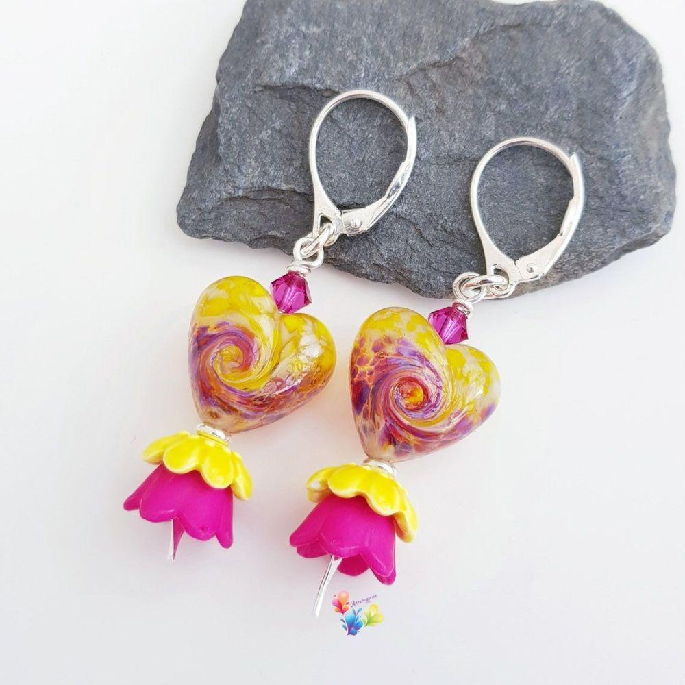 Tropical Twist  Heart Earrings Sterling Silver