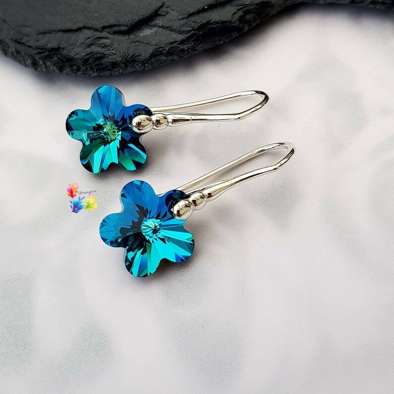 Premium Bermuda Blue Faceted Flower Earrings Sterling Silver or Gold Plated