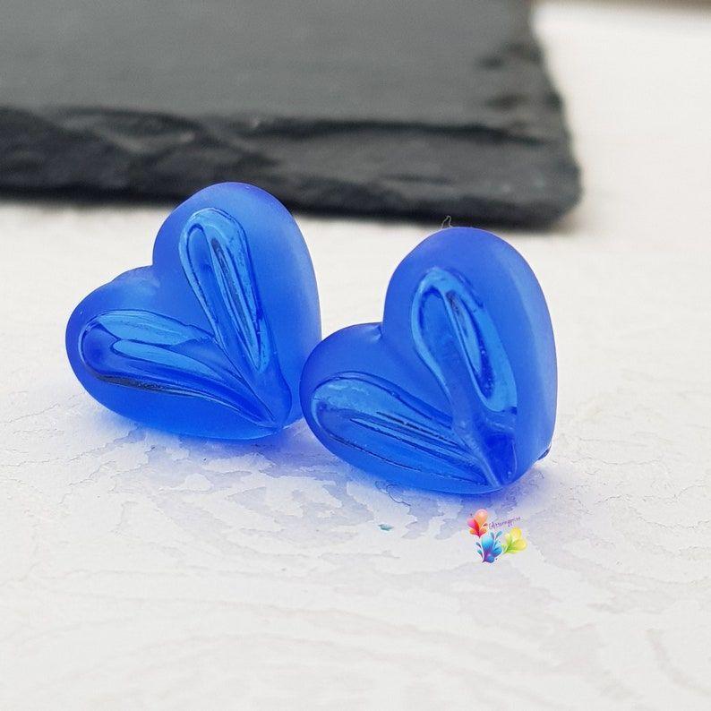 Dark Blue Window Heart Glass Lampwork Beads