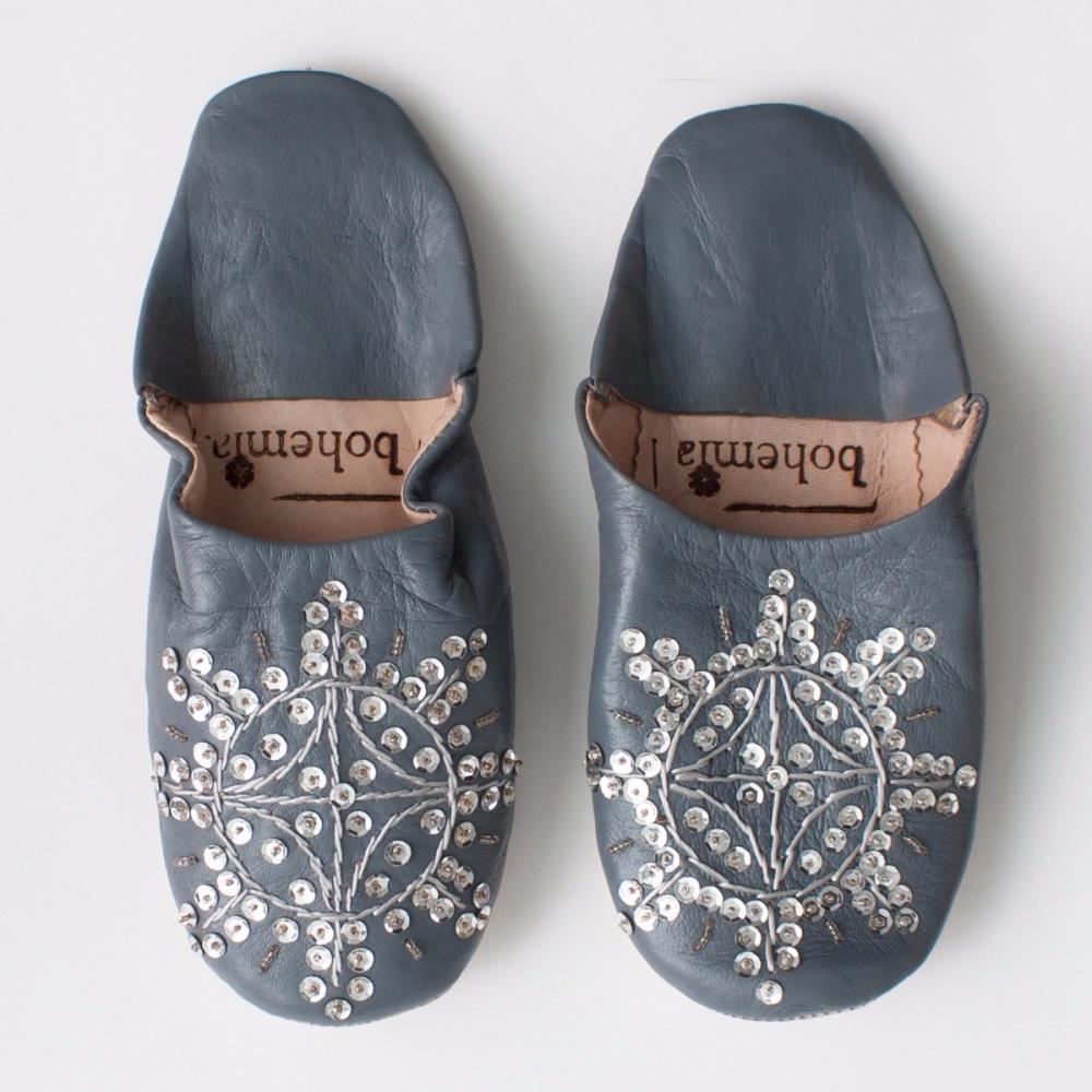 Babouche Sequin Slippers Slate Grey