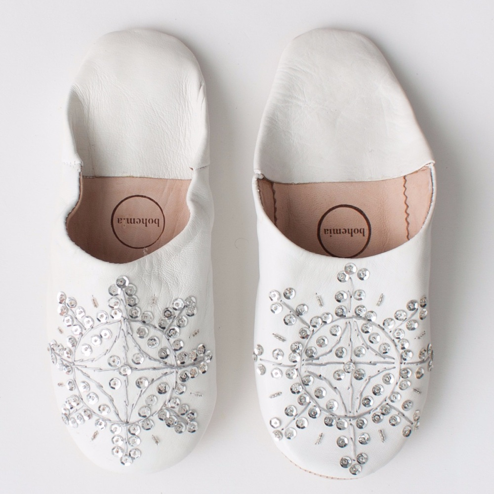 Babouche Sequin Slippers White & Silver