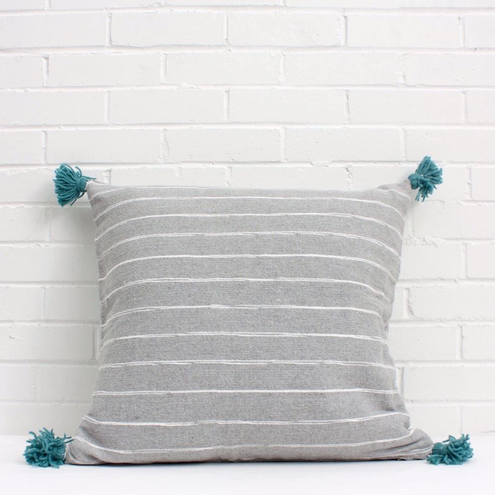 Scribble Pom Pom Cushion Teal