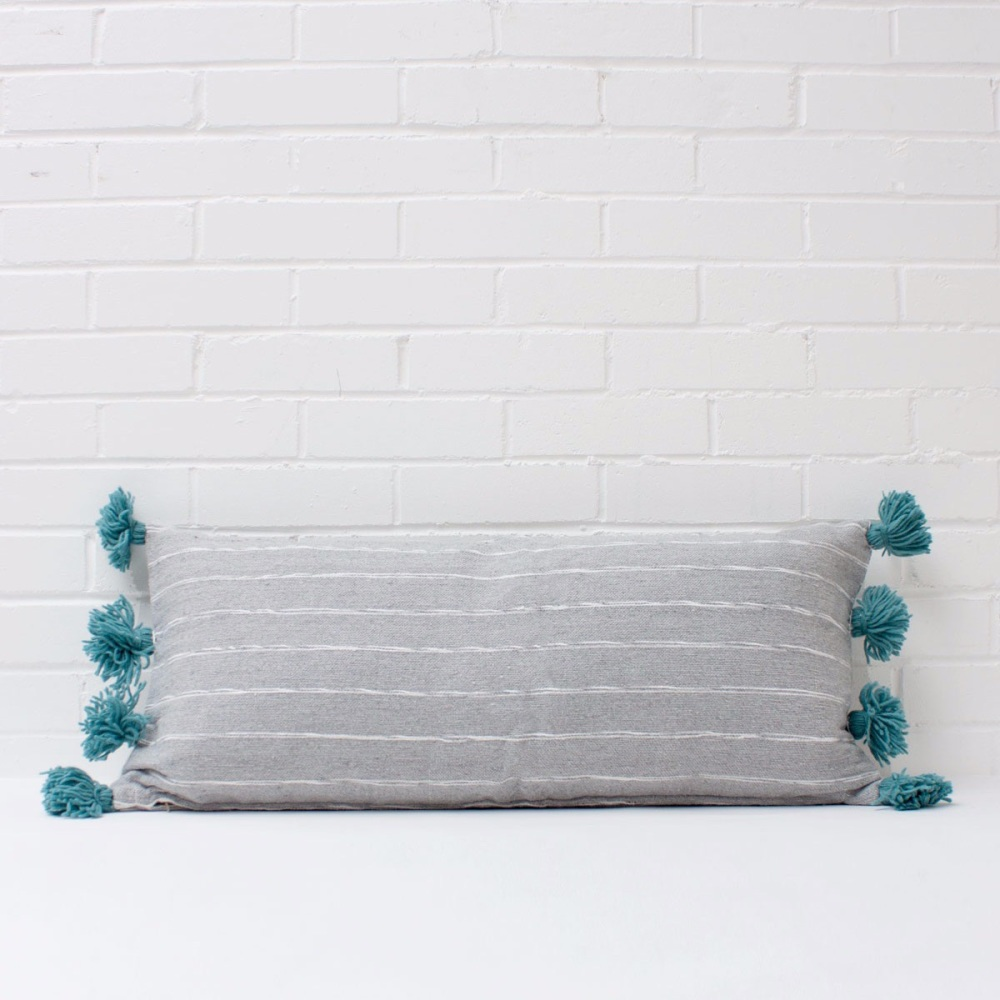 Scribble Pom Pom Cushion Rectangular Grey/ Teal