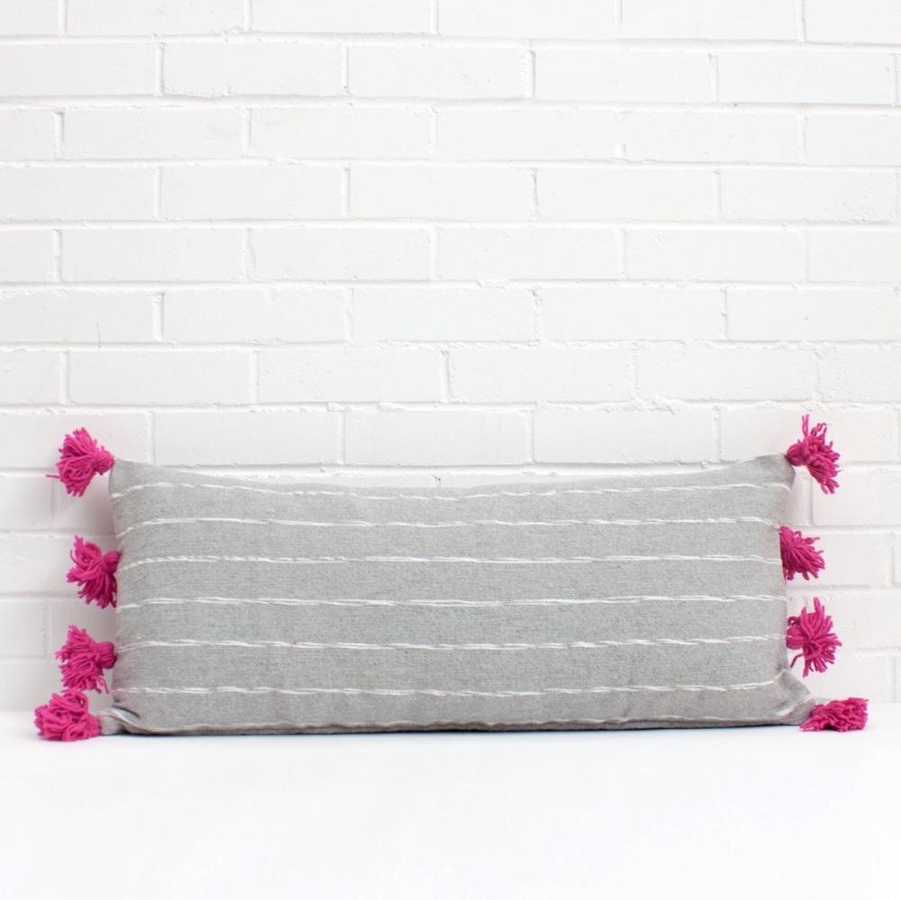 Scribble Pom Pom Cushion Rectangular Grey/ Fuchsia
