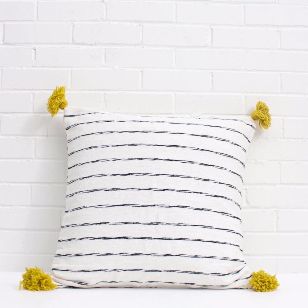 Scribble Pom Pom Cushion White/ Chartreuse