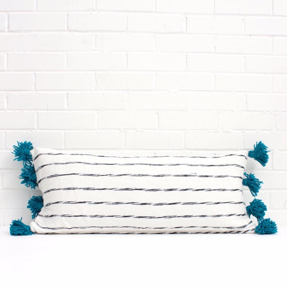 Scribble Pom Pom Cushion Rectangular White/ Teal