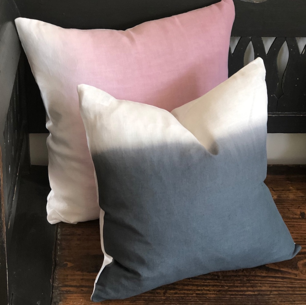 Ombre Hand Dyed Linen Cushion Indigo Square