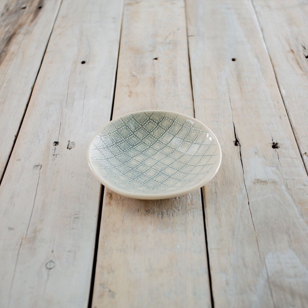 Salsa Bowl Patterned Duck Egg