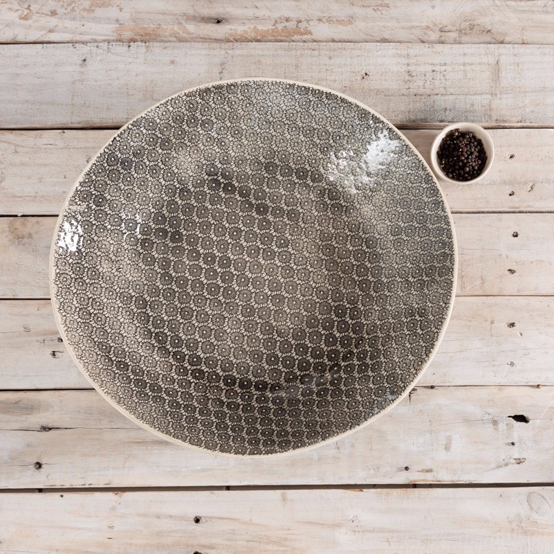 Spaghetti L Bowl Patterned Charcoal