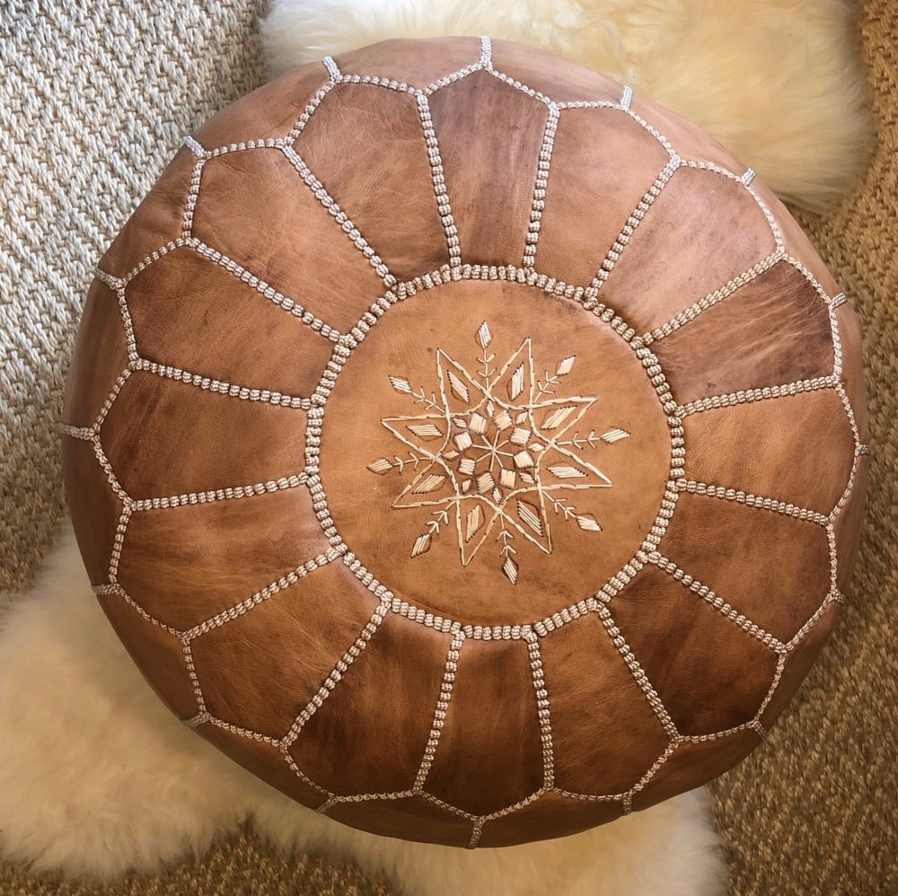 Moroccan Leather Pouffe Natural Tan