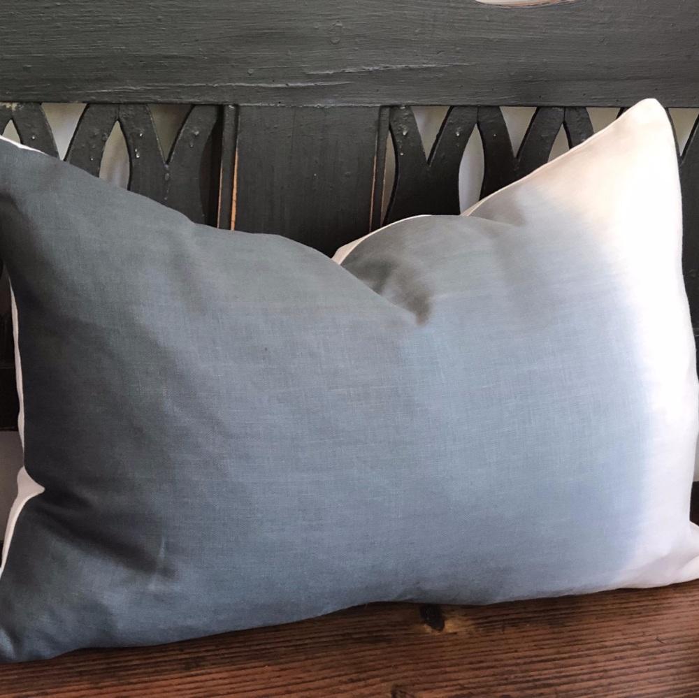 Ombre Hand Dyed Linen Cushion Indigo Rectangular