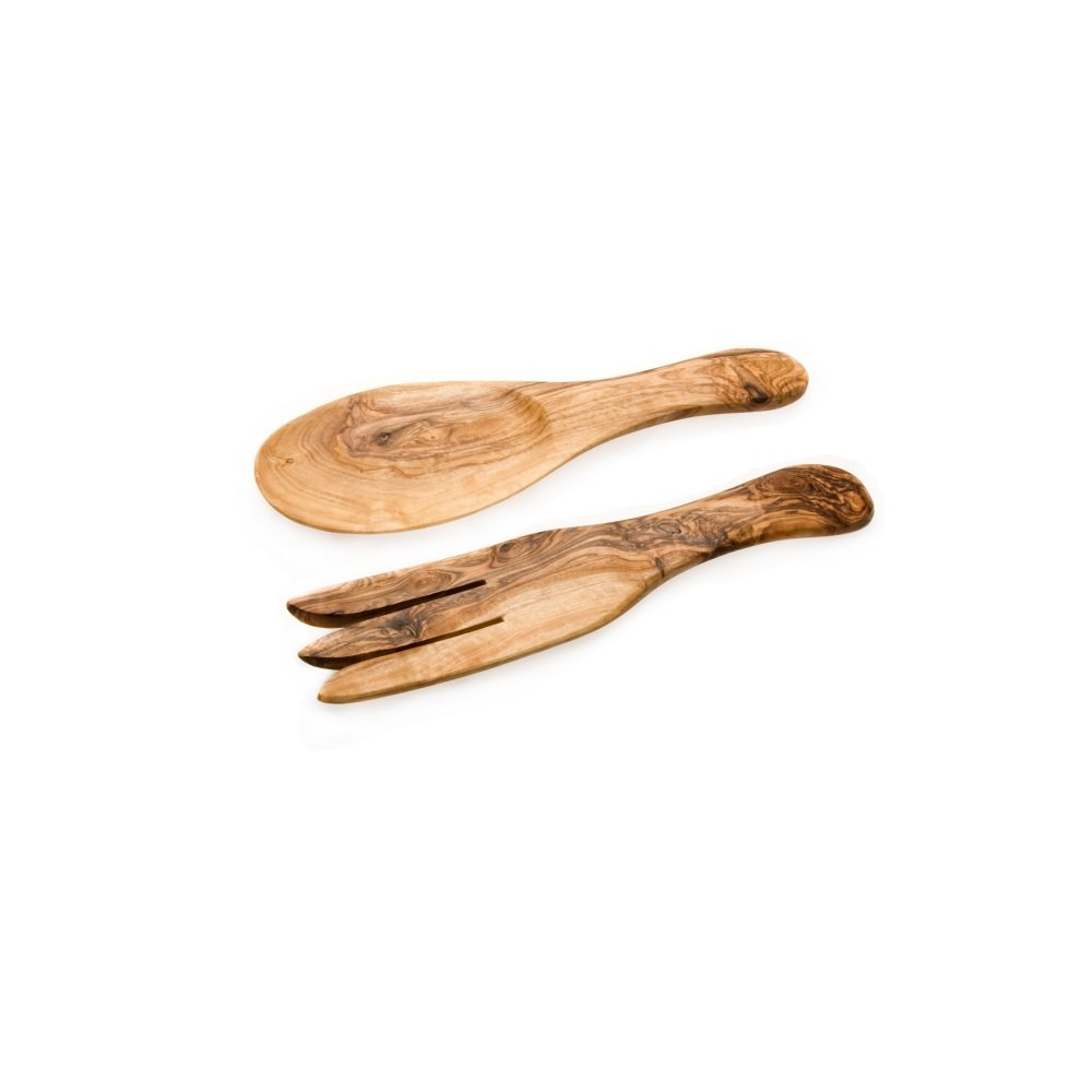 Olive Wood Shorty Salad Servers