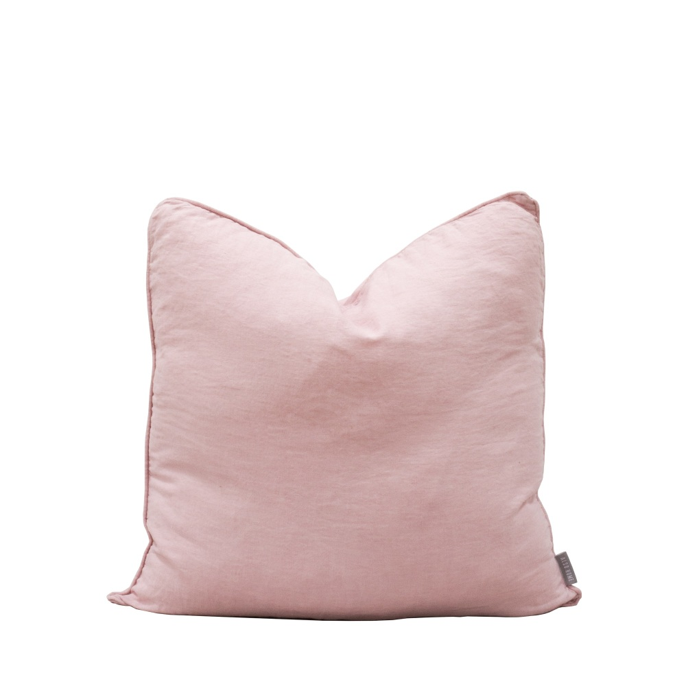 Linen Cushion with Self Piped Edge Blush