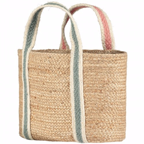 Rose/Thistle Raw Jute Short Handle Tote