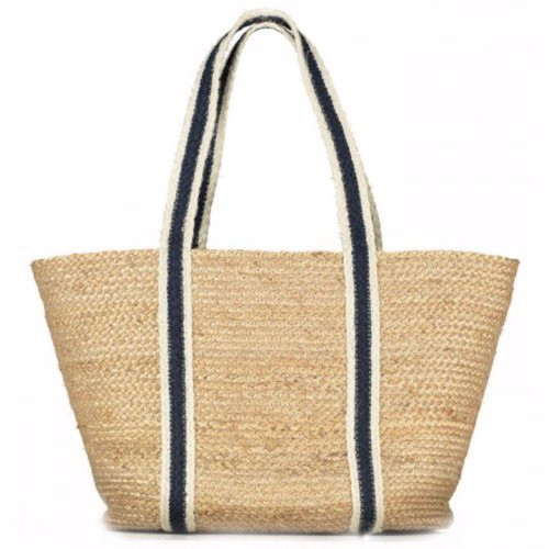 Navy Stripe Long Handle Raw Jute Tote