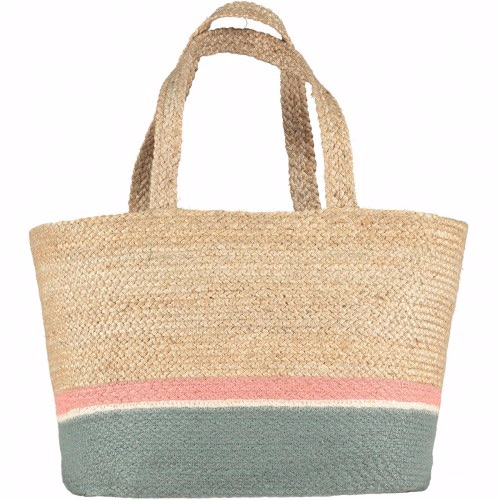 Rose/Thistle Raw Jute Tote Long Handle