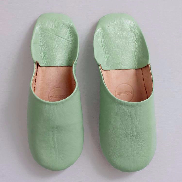 Babouche Slippers Sage L
