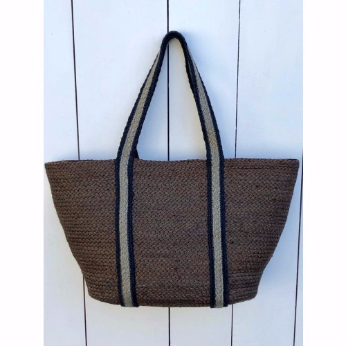 Brown/ Grey Stripe Long Handle Tote