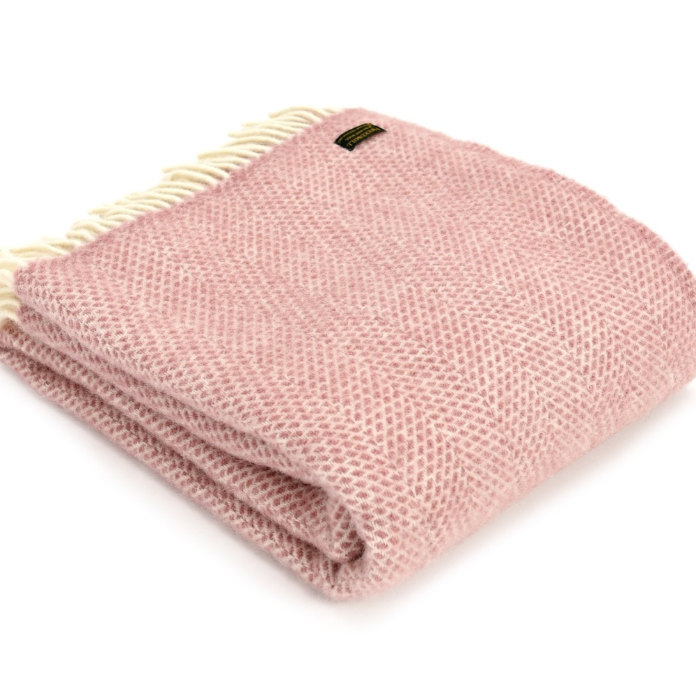 Tweedmill Beehive Throw Dusty Pink
