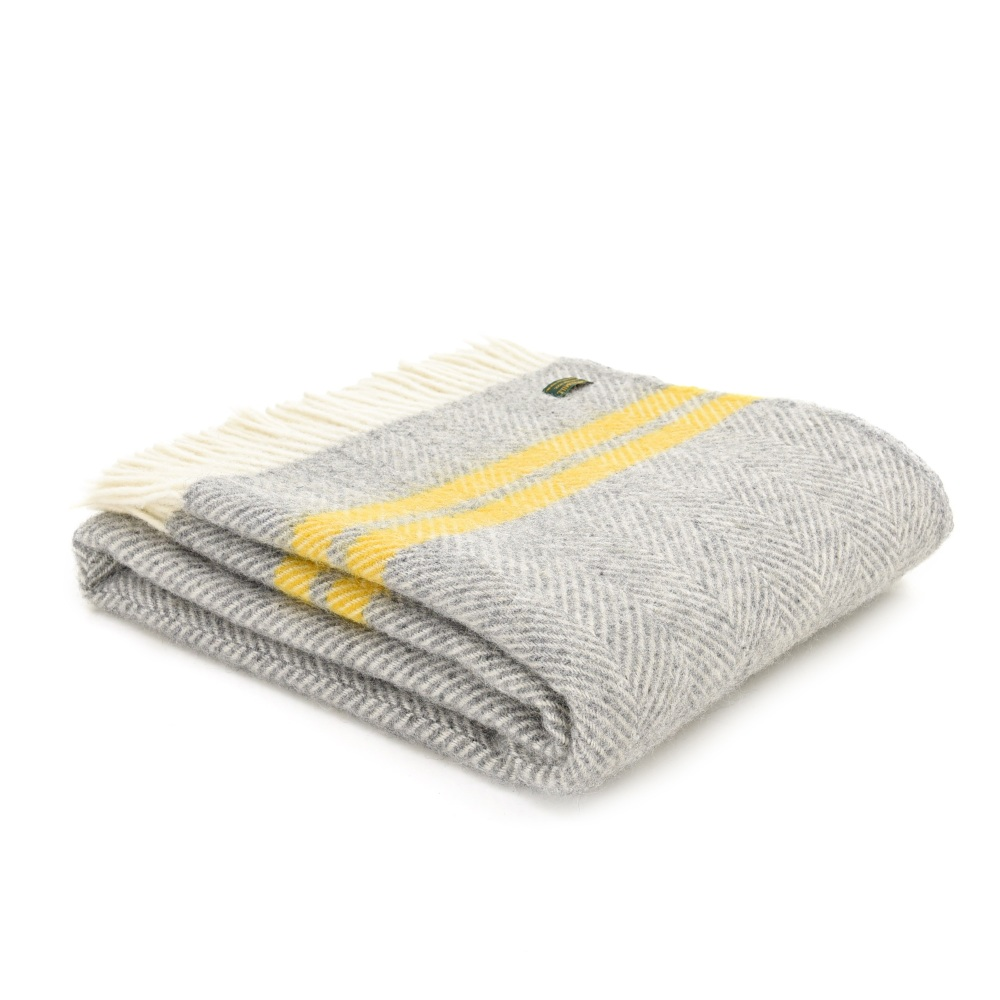 Tweedmill Fishbone Throw Two Stripe Grey & Yellow