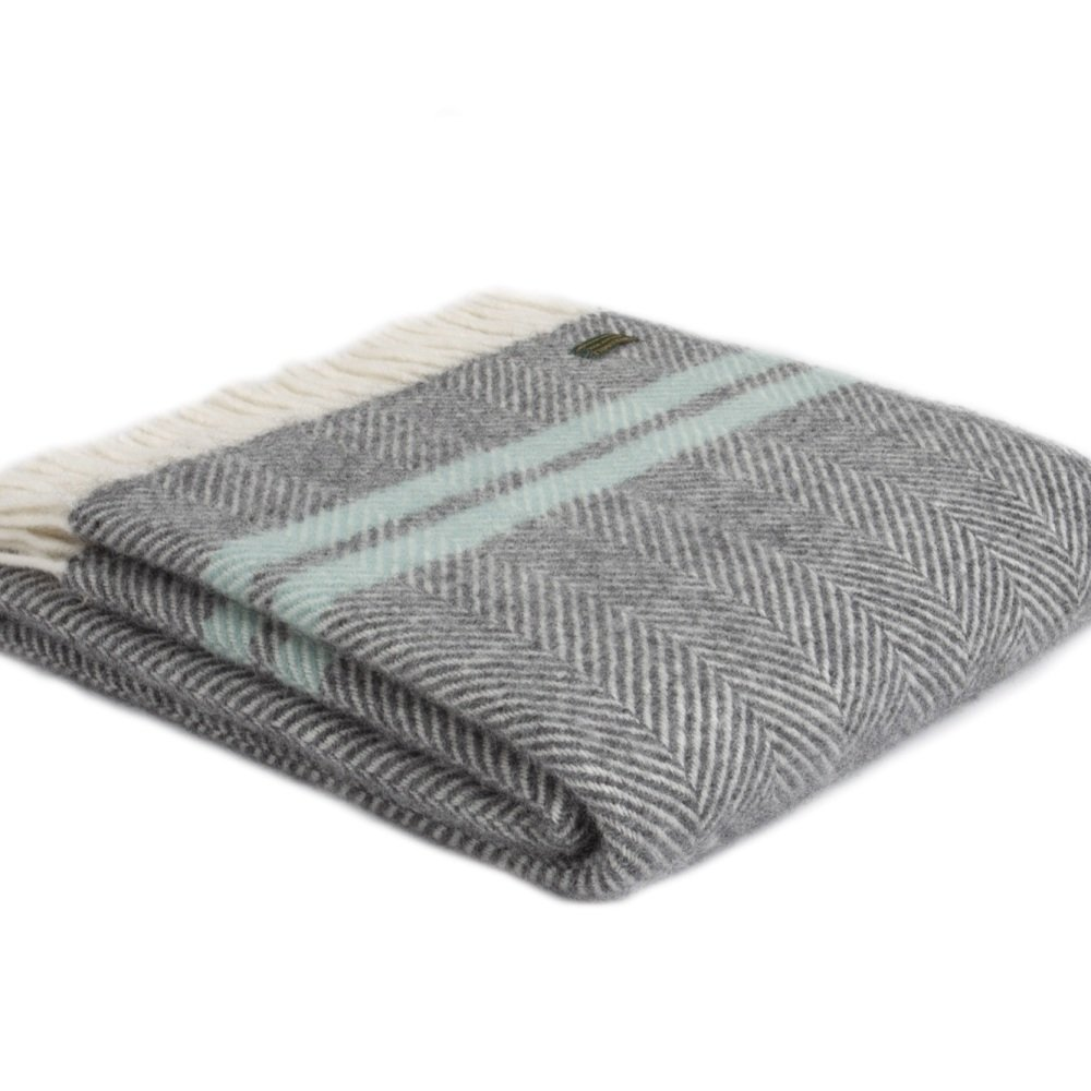Tweedmill Fishbone Throw Two Stripe Slate & Ocean