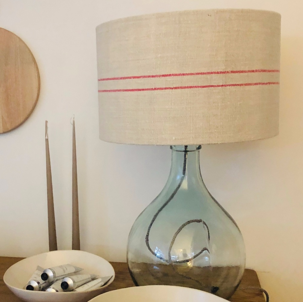 Recycled Glass Lamp with Vintage Linen Shade