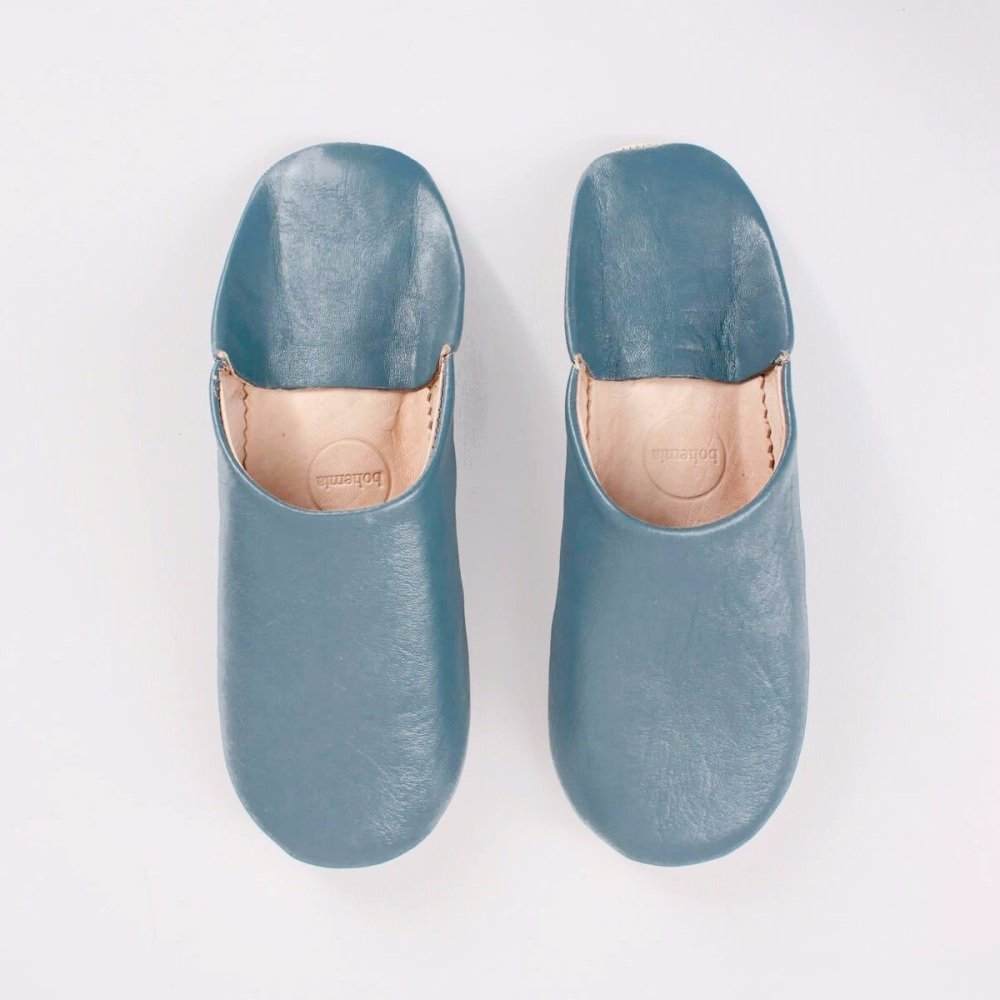 Babouche Slippers Blue Grey M