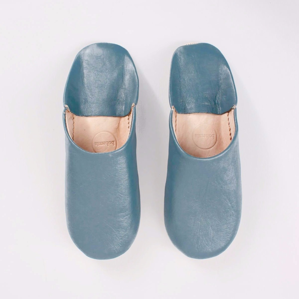 Babouche Slippers Blue Grey L