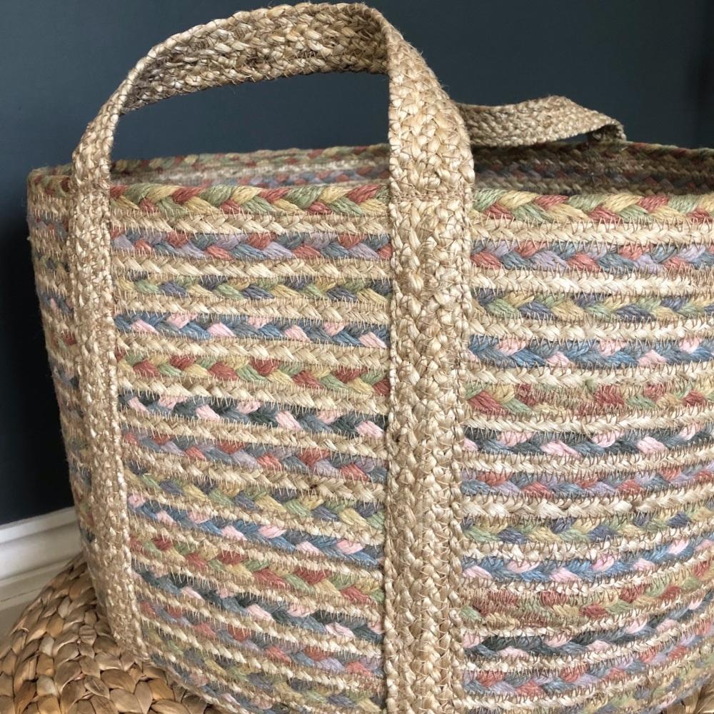 Organic Jute Basket Pastel Fairisle