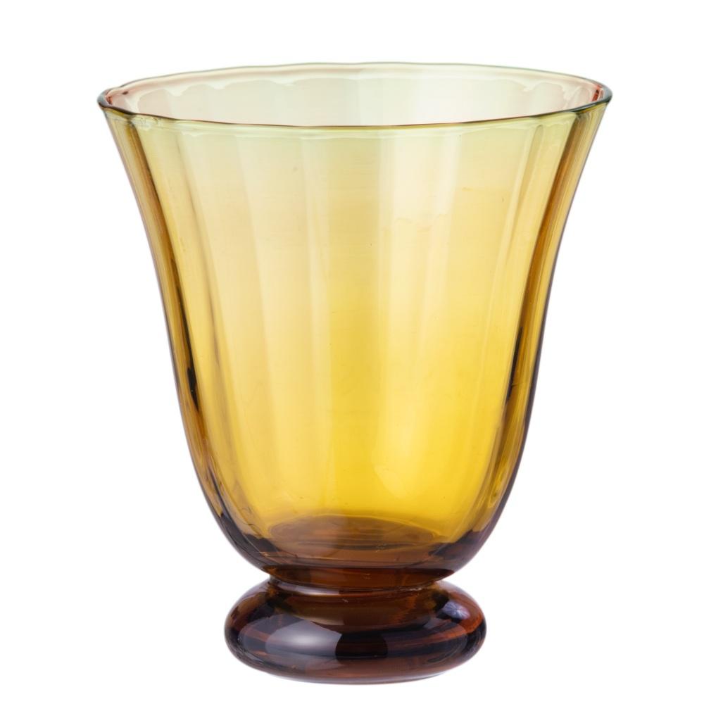 Trellis Water Glass Amber