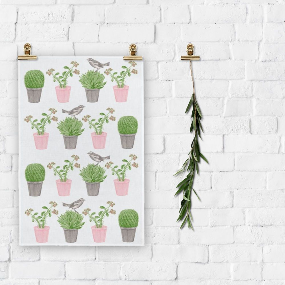 TEA TOWEL - CACTUS & BIRD