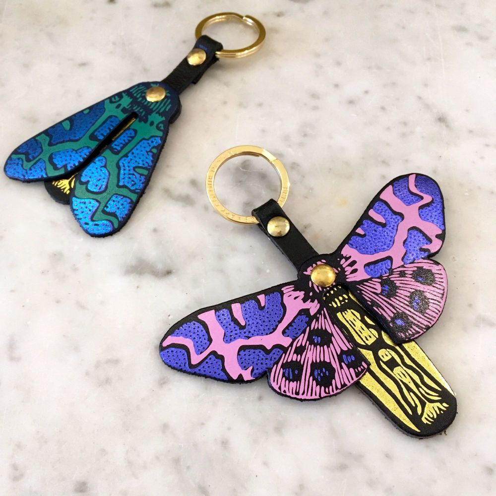 KEY FOBS - BUTTERFLY PINK PURPLE AND MOTH BLUE GREEN