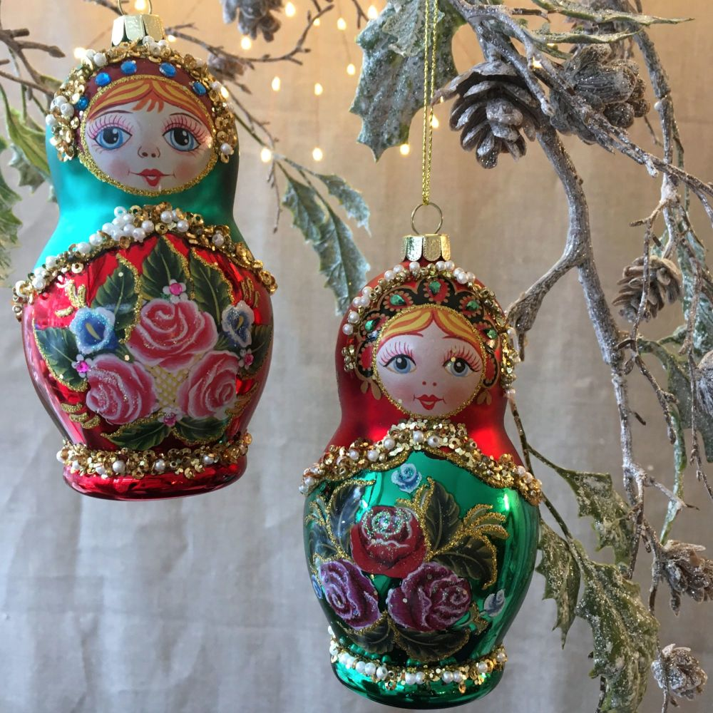 CHRISTMAS DECORATION - RUSSIAN DOLLS RED & GREEN