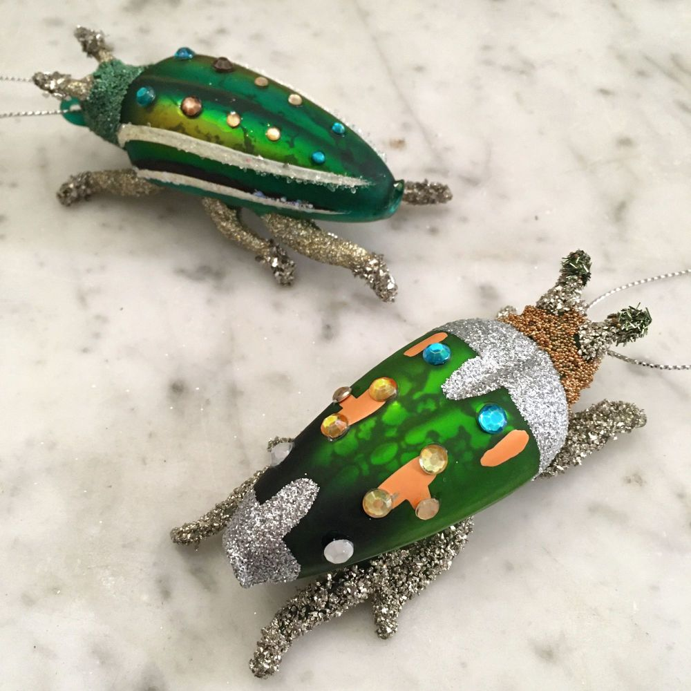 CHRISTMAS DECORATION - GREEN BEETLE